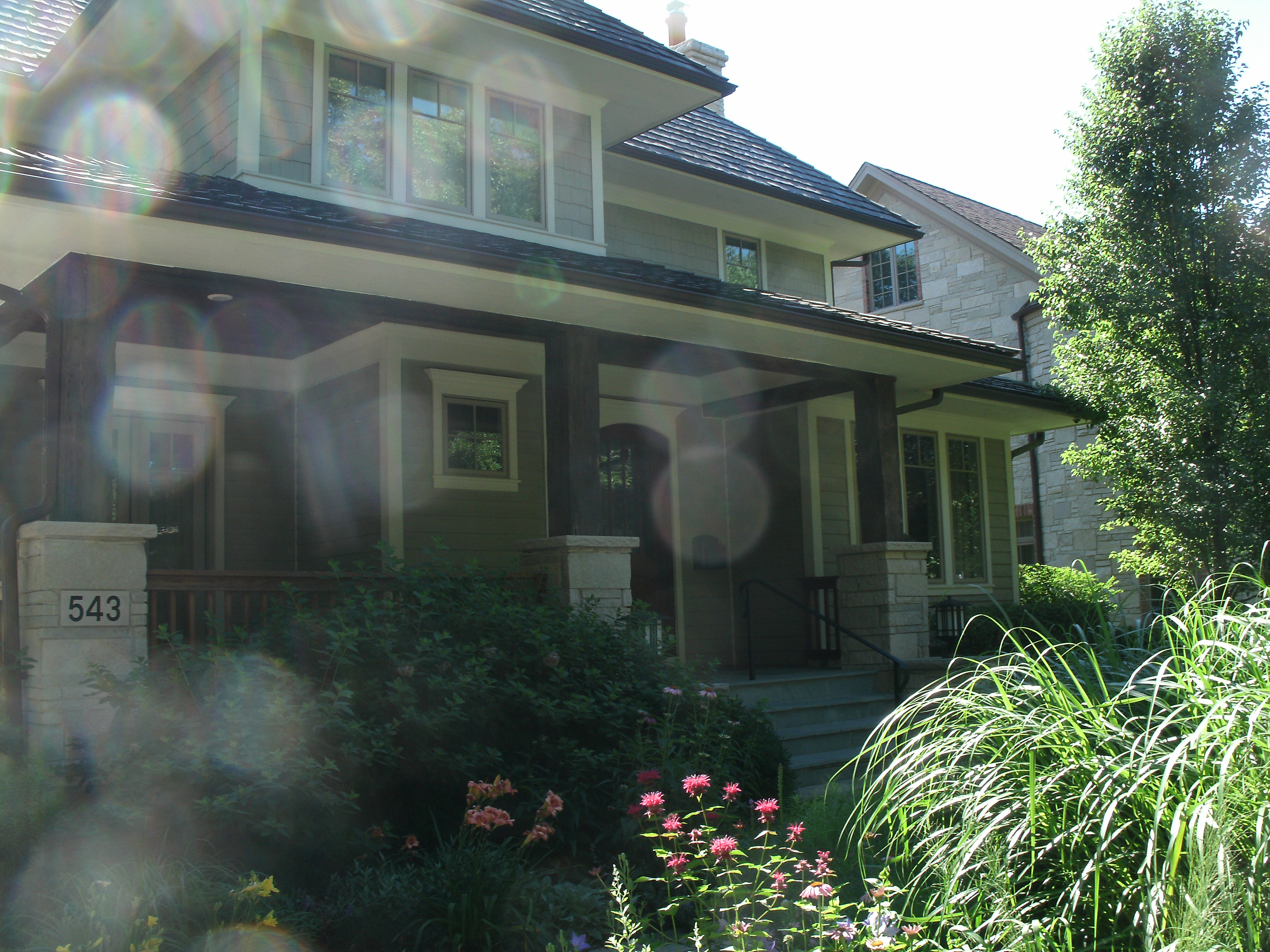 Exterior home with lens flare