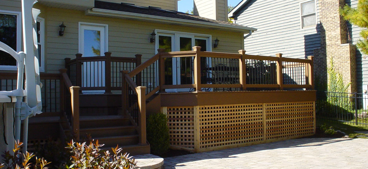 Deck on exterior of a house